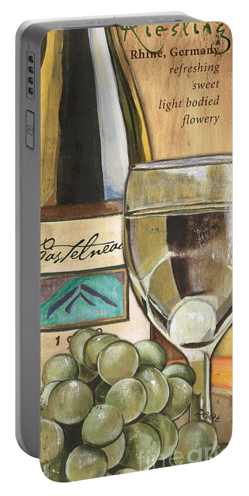 Riesling Portable Battery Charger featuring the painting Riesling by Debbie DeWitt