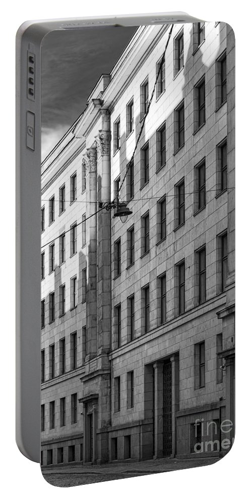 Architecture Portable Battery Charger featuring the photograph Riga Soviet Architecture 01 by Antony McAulay