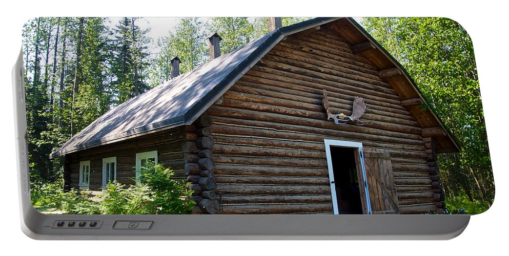 Rika's Barn Portable Battery Charger featuring the photograph Rika's Barn In Big Delta Historical Park-ak by Ruth Hager