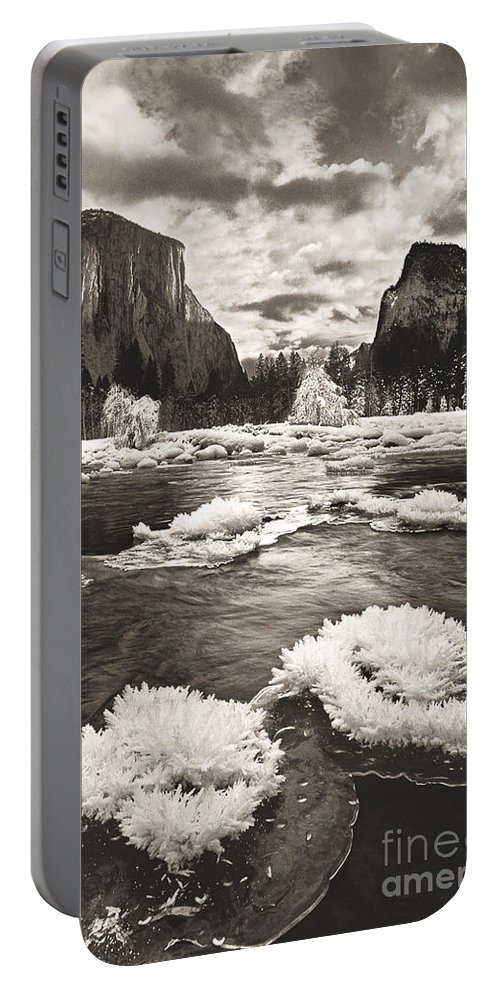 North America Portable Battery Charger featuring the photograph Rime Ice On The Merced In Black And White by Dave Welling