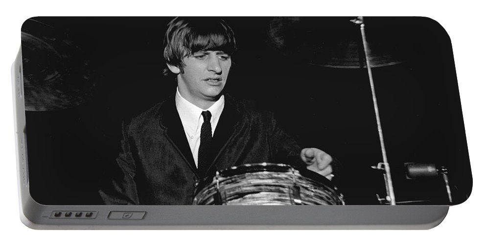 Beatles Portable Battery Charger featuring the photograph Ringo Starr, Beatles Concert, 1964 by Larry Mulvehill