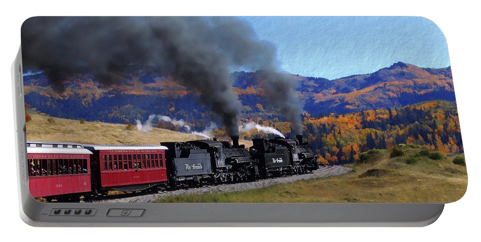 Railroad Portable Battery Charger featuring the photograph Rio Grande 488 And 489 by Kurt Van Wagner