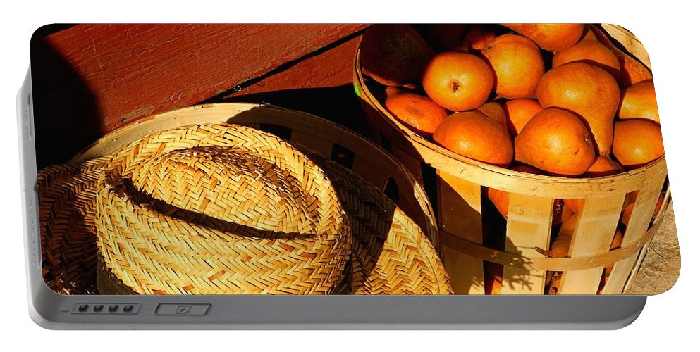 Pears Portable Battery Charger featuring the photograph Ripe For The Picking by Beth Ferris Sale