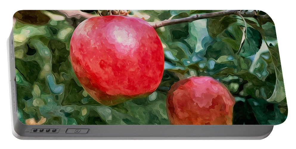 Ripe Red Apples On Tree Portable Battery Charger featuring the painting Ripe Red Apples On Tree by Jeelan Clark
