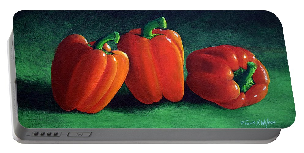 Ripe Red Peppers Portable Battery Charger featuring the painting Ripe Red Peppers by Frank Wilson