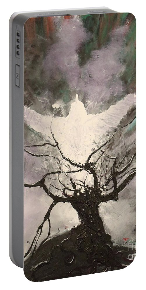 Impressionism Portable Battery Charger featuring the painting Rising From The Ash by Stefan Duncan