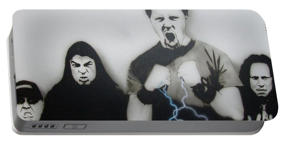 Rock Portable Battery Charger featuring the painting Rising Metallic Storm by Christian Chapman Art