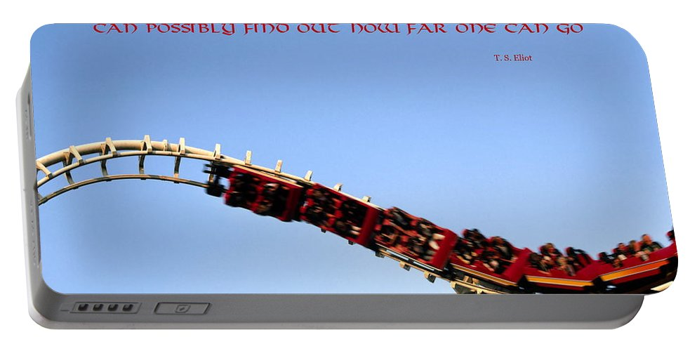 Roller Coaster Twisting Upside Down Portable Battery Charger featuring the photograph Risk by Sally Weigand