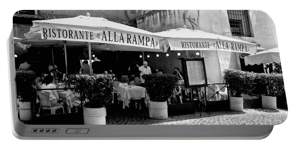 Rome Portable Battery Charger featuring the photograph Ristorante Alla Rampa by Eric Tressler