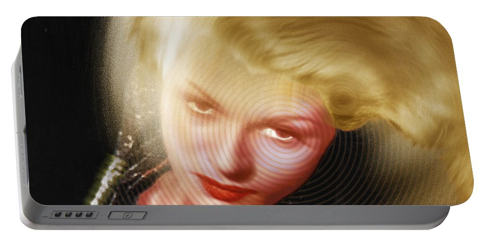 Rita Hayworth Portable Battery Charger featuring the painting Rita Hayworth And Hair by Tony Rubino
