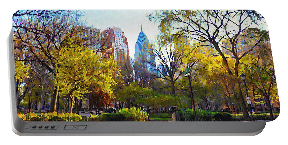 Rittenhouse Portable Battery Charger featuring the photograph Rittenhouse Square In The Spring by Bill Cannon