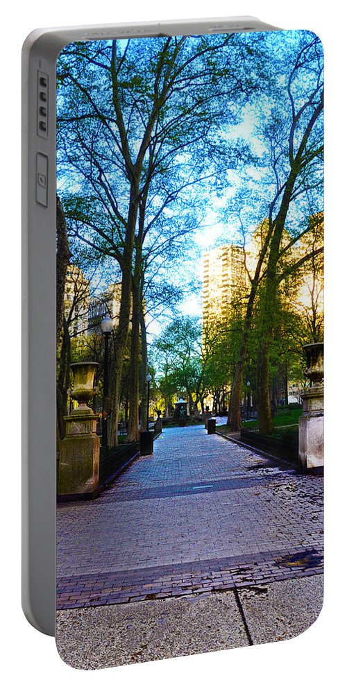 Rittenhouse Portable Battery Charger featuring the photograph Rittenhouse Square Park by Bill Cannon