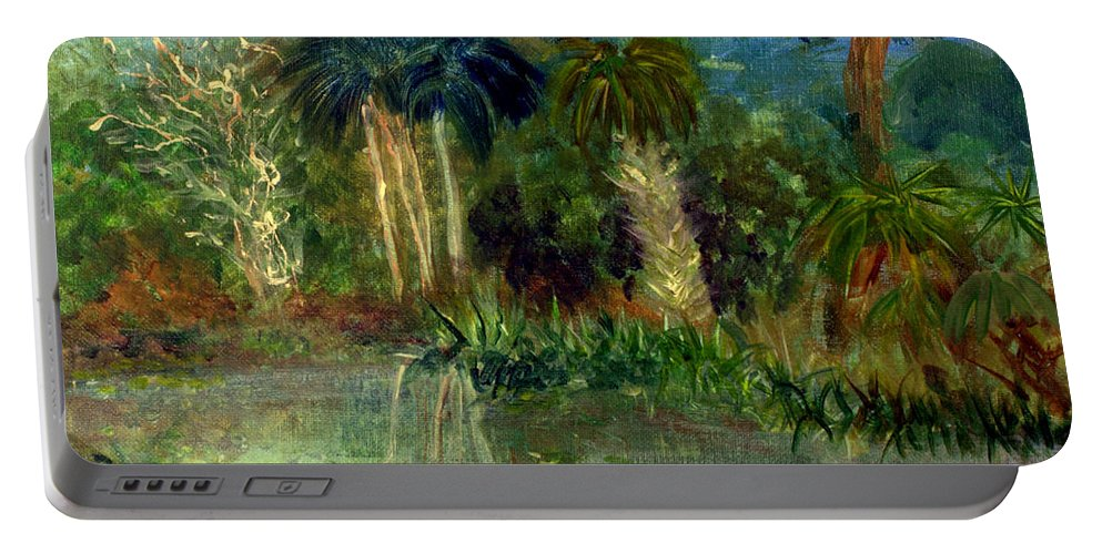 Blue Portable Battery Charger featuring the painting River At Riverbend Park In Jupiter Florida by Donna Walsh