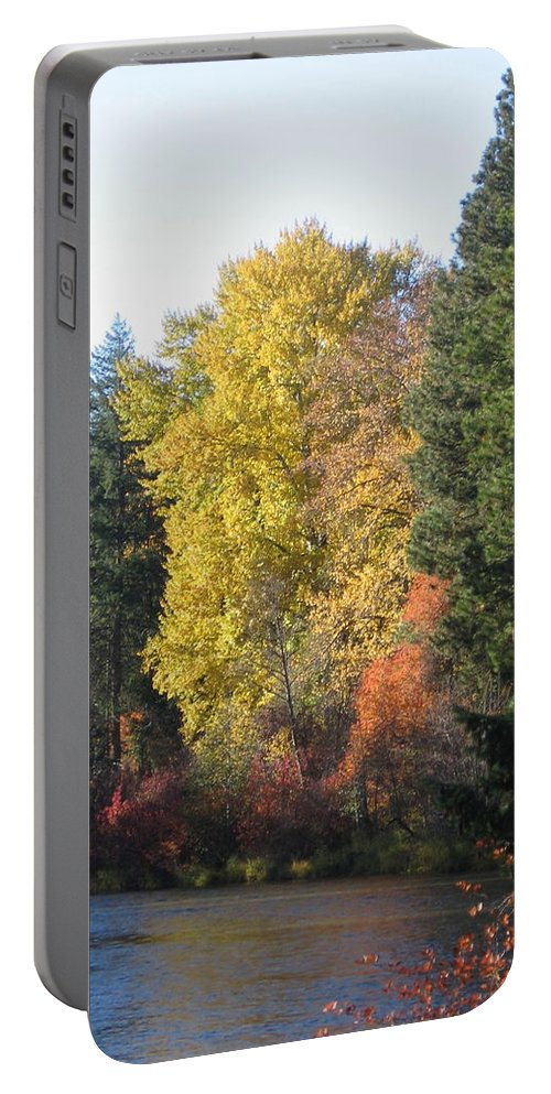 Riverbend Portable Battery Charger featuring the photograph River Bend by Kimberly Maxwell Grantier