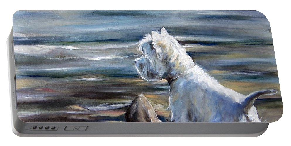 Westie Portable Battery Charger featuring the painting River Boy by Mary Sparrow