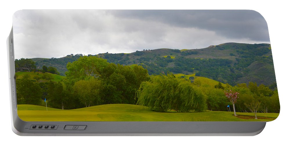 River Course At Alisal Solvang California Portable Battery Charger featuring the digital art River Course At Alisal Solvang California 6 by Barbara Snyder