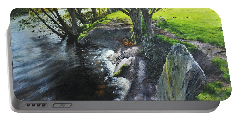 Landscape Portable Battery Charger featuring the painting River Dee At Rhug by Harry Robertson