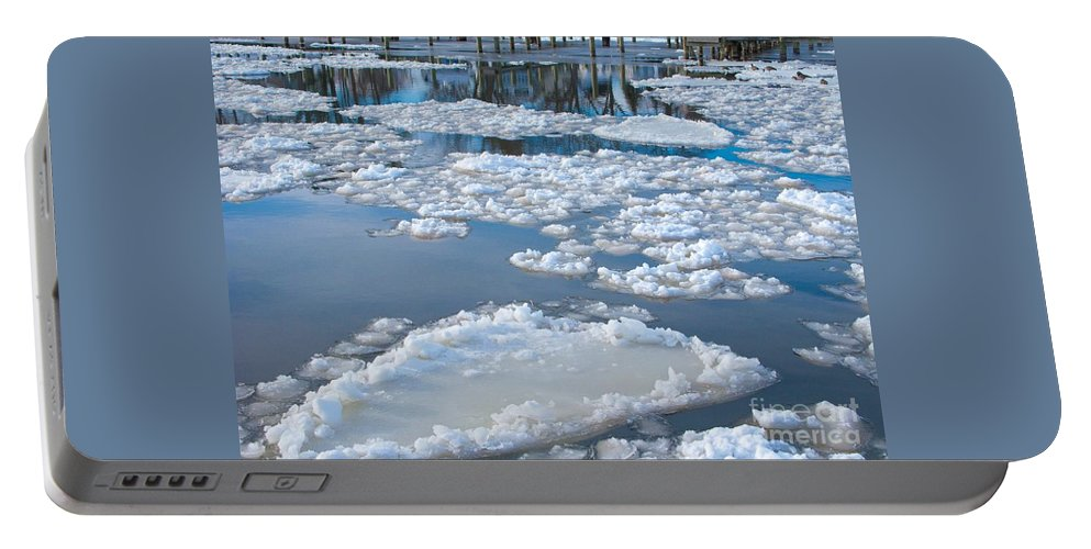 Ice Portable Battery Charger featuring the photograph River Ice by Ann Horn