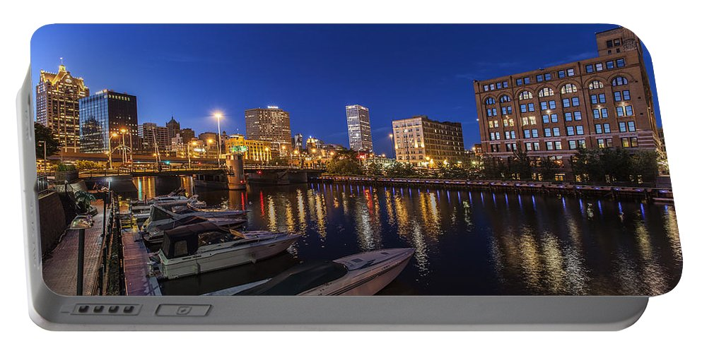 Www.cjschmit.com Portable Battery Charger featuring the photograph River Nights by CJ Schmit