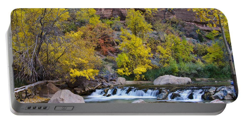 Zion National Park Utah Portable Battery Charger featuring the photograph River Rapids In Zion by Jon Berghoff