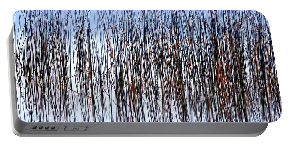 Abstract Portable Battery Charger featuring the photograph River Reeds by Heather Pickard