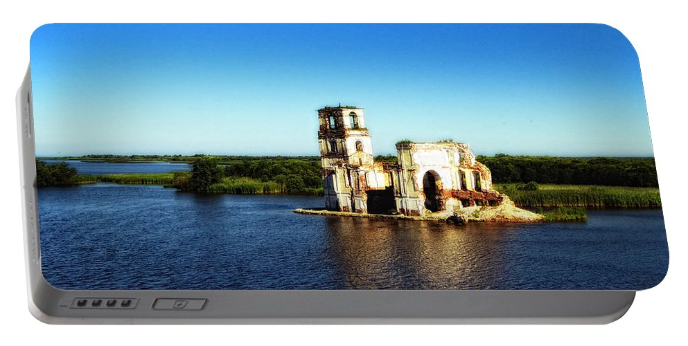 St. Basils Cathedral Portable Battery Charger featuring the photograph River Ruins by Linda Dunn