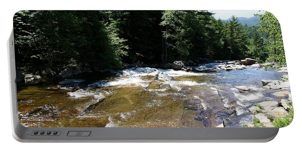 River Portable Battery Charger featuring the photograph River Running Over Rocks by Christiane Schulze Art And Photography