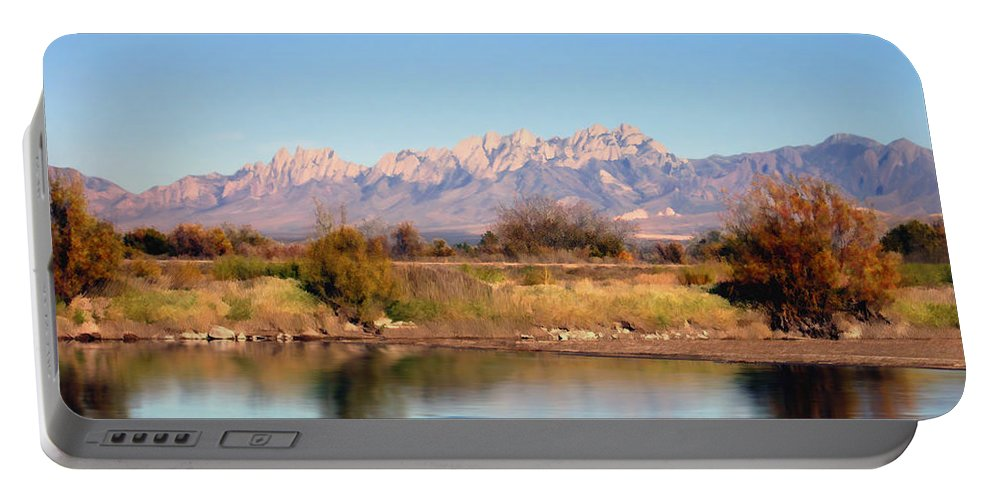 River Portable Battery Charger featuring the photograph River View Mesilla by Kurt Van Wagner