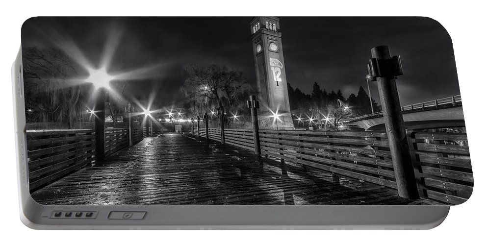 Spokane Portable Battery Charger featuring the photograph Riverfront Park Clocktower Seahawks Black And White by Mark Kiver