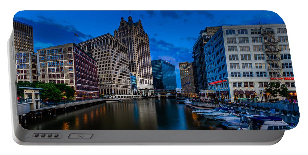 Blue Hour Portable Battery Charger featuring the photograph Riverside Blue Hour by Randy Scherkenbach