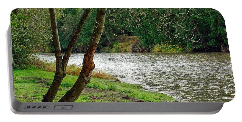 Landscape Portable Battery Charger featuring the photograph Riverside Picnic by Tikvah's Hope