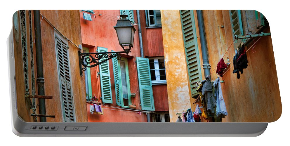Cote D'azur Portable Battery Charger featuring the photograph Riviera Alley by Inge Johnsson