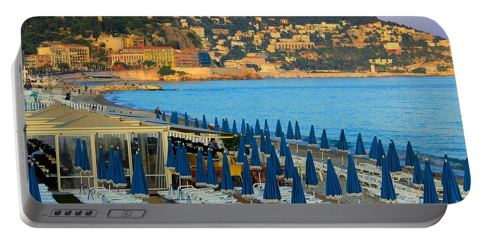 Cote D'azur Portable Battery Charger featuring the photograph Riviera Full Moon by Inge Johnsson