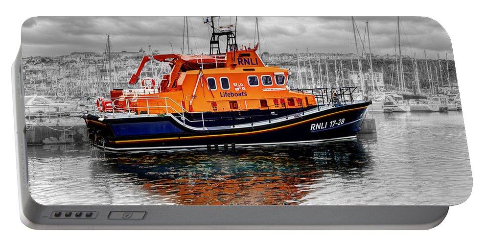 Brixham Portable Battery Charger featuring the photograph Rnlb 17-28 Brixham by Chris Day