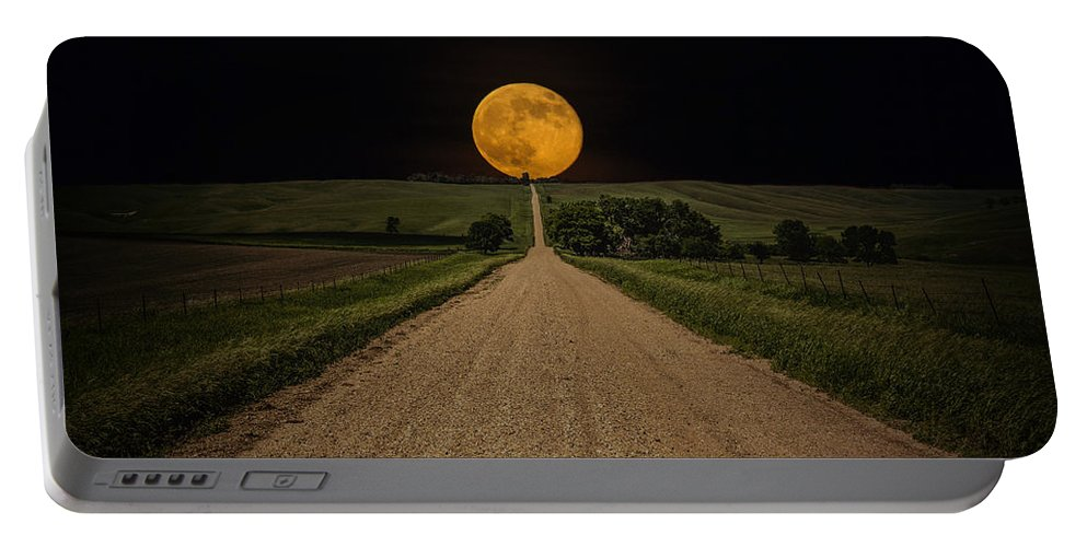 Road To Nowhere Portable Battery Charger featuring the photograph Road To Nowhere - Supermoon by Aaron J Groen
