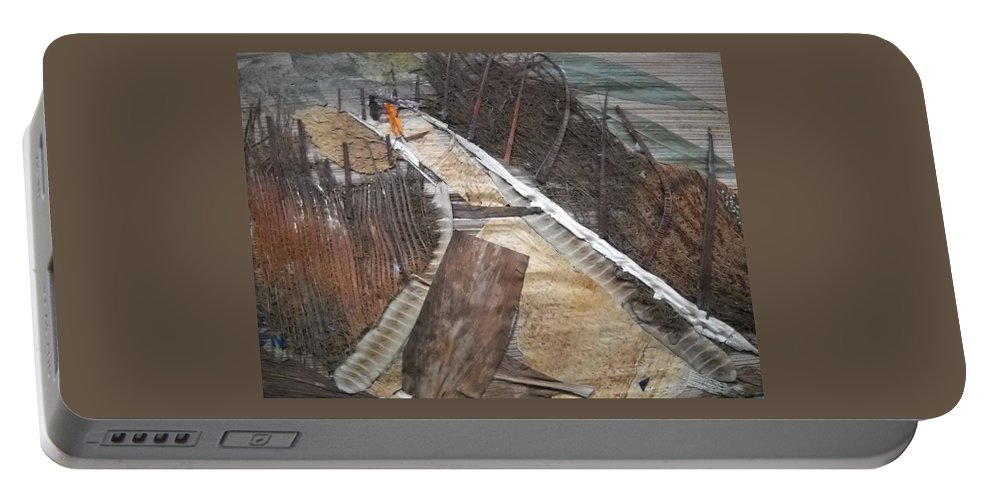 Cross Country Road Portable Battery Charger featuring the mixed media Road With Dense Fencing by Basant Soni