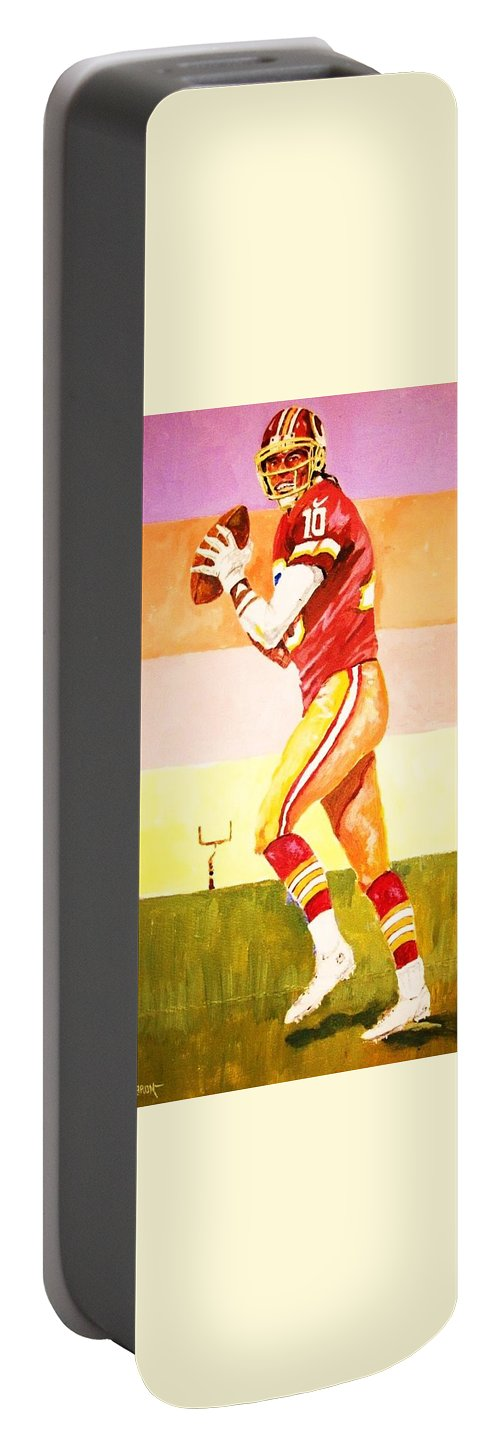 Football Portable Battery Charger featuring the painting Quarterback In Motion by Al Brown