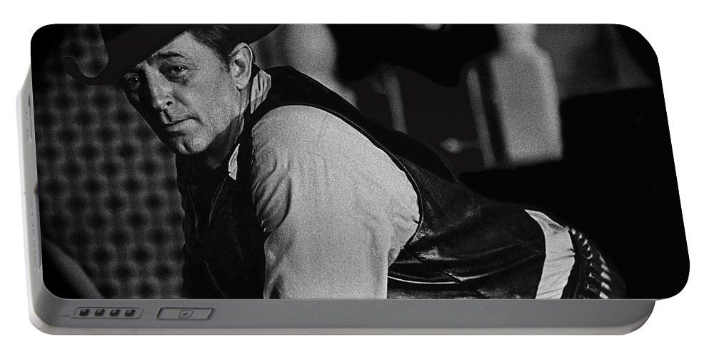 Robert Mitchum Leaning On Poker Table Young Billy Young Set Old Tucson Arizona 1969 Portable Battery Charger featuring the photograph Robert Mitchum Leaning On Poker Table Young Billy Young Set Old Tucson Arizona 1969-2008 by David Lee Guss