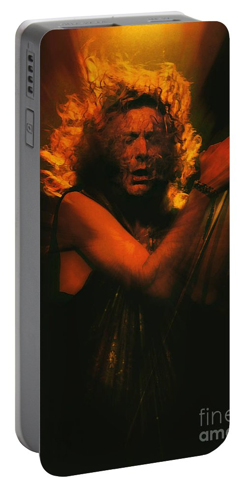 Autumn Portable Battery Charger featuring the painting Robert Plant Led Zeppelin by Neil Finnemore