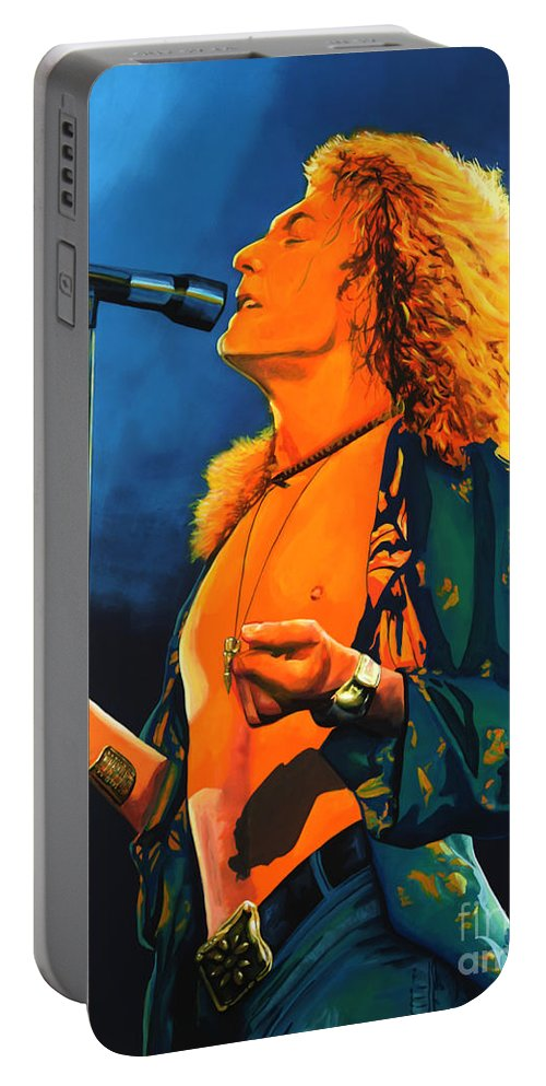 Robert Plant Portable Battery Charger featuring the painting Robert Plant by Paul Meijering