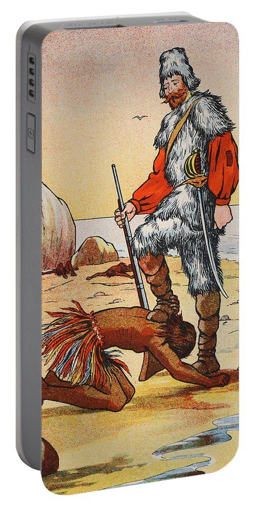 Robinson Crusoe Portable Battery Charger featuring the painting Robinson Crusoe And Friday by English School