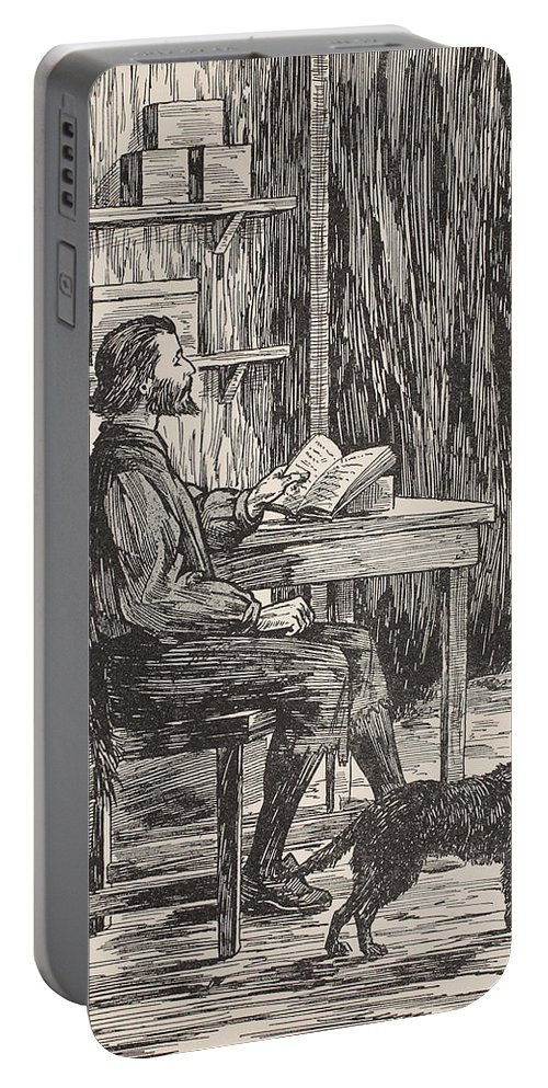 Robinson Crusoe Portable Battery Charger featuring the painting Robinson Crusoe In His Cave by English School