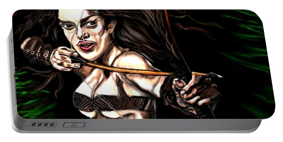Robin Hood Portable Battery Charger featuring the painting Robyn Hood by Herbert Renard