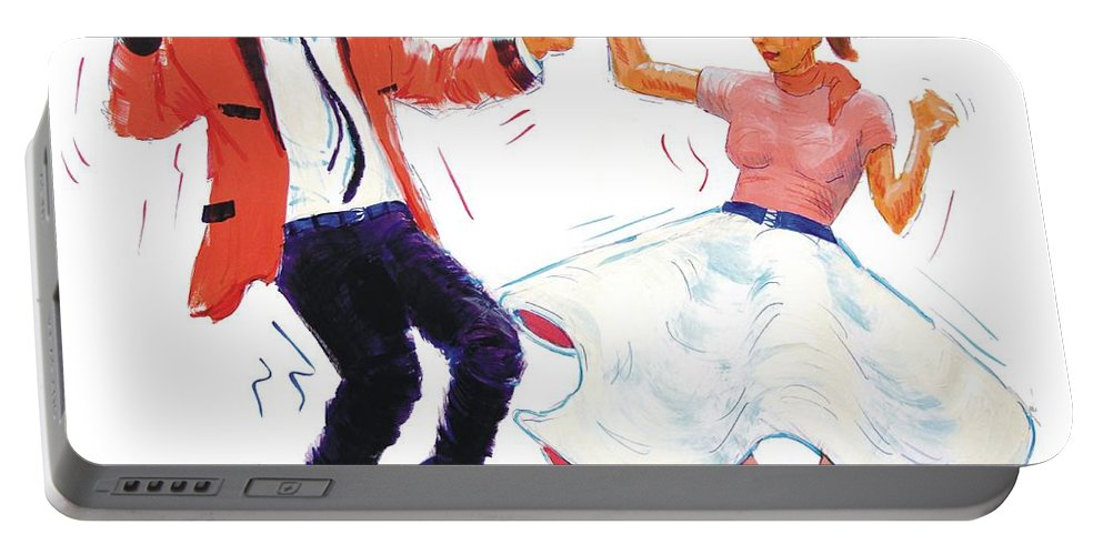 Nostalgia Portable Battery Charger featuring the painting Rock And Roll Dancers by Mike Jory