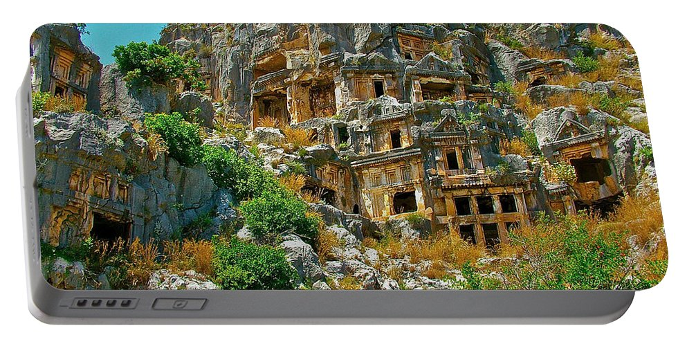 Rock-carved Tombs In Myra Portable Battery Charger featuring the photograph Rock-carved Tombs In Myra-turkey by Ruth Hager