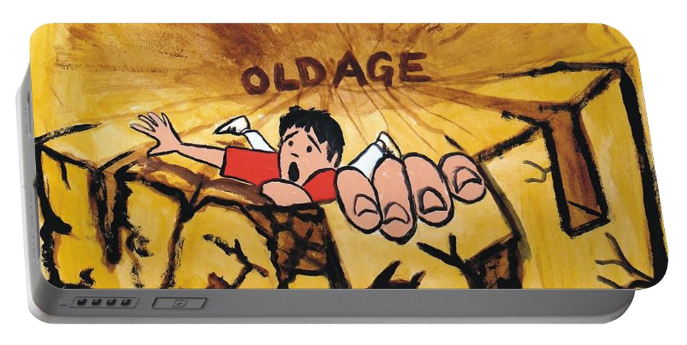 Mike Portable Battery Charger featuring the painting Rock Climbing Cartoon by Mike Jory