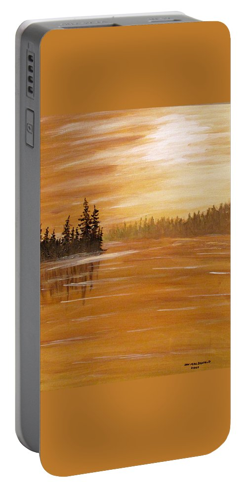 Northern Ontario Portable Battery Charger featuring the painting Rock Lake Morning 1 by Ian MacDonald