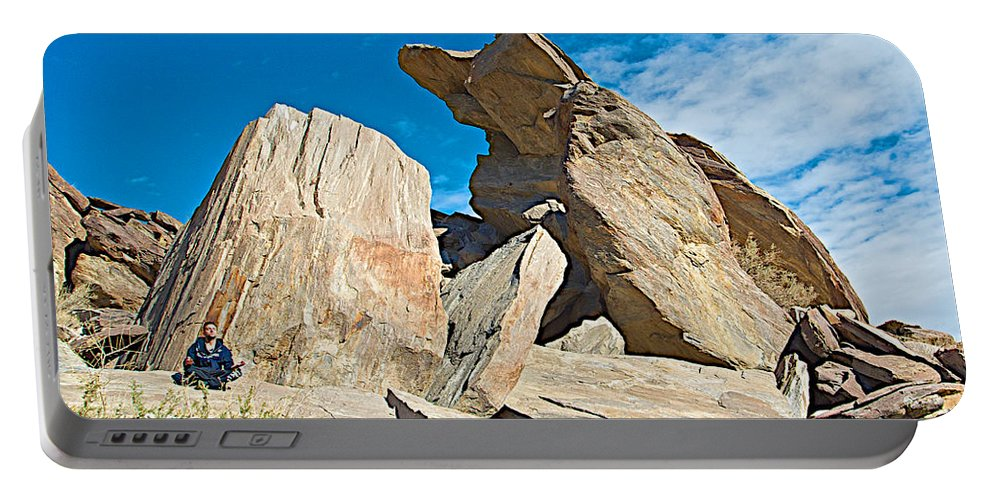 Rock Uplifts In Andreas Canyon In Indian Canyons Portable Battery Charger featuring the photograph Rock Uplifts In Andreas Canyon In Indian Canyons-ca by Ruth Hager