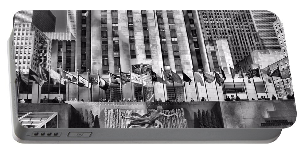 Rockefeller Center Black And White Portable Battery Charger featuring the photograph Rockefeller Center Black And White by Dan Sproul