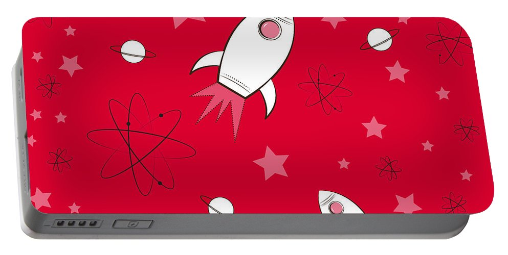 Rocket Portable Battery Charger featuring the painting Rocket Science Red by Amy Kirkpatrick